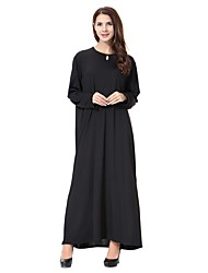 cheap -Women's Party Casual/Daily Simple Abaya Kaftan Dress,Solid Round Neck Midi Long Sleeve Polyester Spandex All Season Mid Rise High