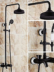 cheap -Antique Centerset Rain Shower Ceramic Valve Three Holes Two Handles Three Holes Oil-rubbed Bronze , Shower Faucet