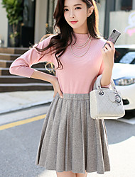 cheap -Women's Going out Casual/Daily Simple Cute A Line Sweater Dress,Color Block Crew Neck Above Knee Long Sleeve Rayon Polyester Nylon Spring