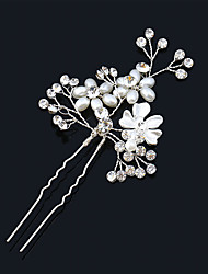 Imitation Pearl Rhinestone Alloy Flowers Hair Pin Hair Tool Headpiece
