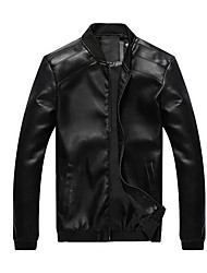 cheap -Men's Leather Jacket - Solid Colored Stand