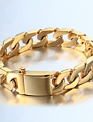 cheap -Men's Thick Chain / Curb Bracelet - 18K Gold Plated, Stainless Steel Fashion, Hip-Hop Bracelet Gold / Silver For Casual / Daily Wear