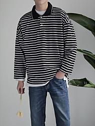 Masculino Camiseta Para Noite Casual Moda de Rua Listrado Poliéster Colarinho de Camisa Manga Longa