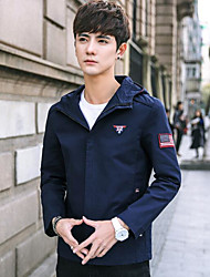 Men's Holiday Simple Casual Spring Fall Jackets,Print Hooded Long Sleeves Short Cotton Polyester Nylon Others