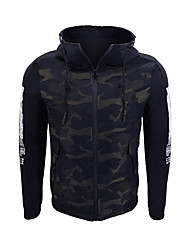 cheap -Men's Simple Casual Jacket-Letter,Print Hooded