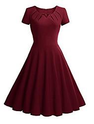 preiswerte -Damen Swing Kleid Solide V-Ausschnitt