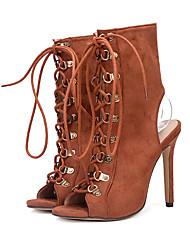 Feminino Sapatos Camurça Todas as Estações Conforto Inovador Botas da Moda Botas Peep Toe Tachas Para Casamento Festas & Noite Preto