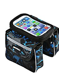 Bike Frame Bag Bike Handlebar Bag Tube Bag Cell Phone Bag 6.2 inch Anti-Slip Waterproof Rain-Proof Dustproof Touch Screen Cycling for