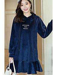 abordables -Mujer Corte Ancho Vestido Otros Simple,Un Color Con Capucha Asimétrico Mangas largas Algodón Otoño Tiro Medio Microelástico Opaco