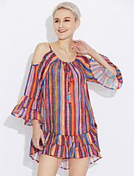 cheap -Women's Daily Casual Sexy Summer Blouse,Striped Off Shoulder Long Sleeves Others Medium