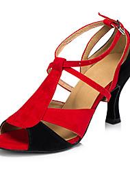 Недорогие -Для женщин Латина Кожа Сандалии Кроссовки Профессиональный стиль На толстом каблуке Красно-черный