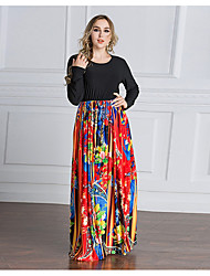 cheap -Women's Party Kaftan Dress,Floral Round Neck Maxi Long Sleeves Polyester Spring/Fall Mid Rise Micro-elastic Medium