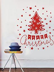 Noël Stickers muraux Pinceaux Autocollants muraux décoratifs,Non tissé Matériel Décoration d'intérieur Calque Mural