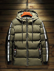 Men's Regular Padded Coat,Casual Daily Going out Solid Camouflage-Polyester Long Sleeve