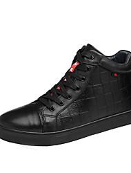Herren Schuhe Echtes Leder Leder Herbst Winter Komfort Stiefeletten Tauchschuhe Sneakers Schnürsenkel Für Normal Schwarz