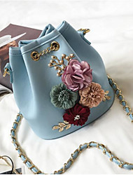 cheap -Women Bags PU Crossbody Bag Flower(s) Pockets for Casual All Season Blue Black Blushing Pink Milky White