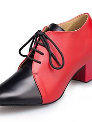 cheap -Women's Modern Leather Sandal Sneaker Professional Chunky Heel Red Black