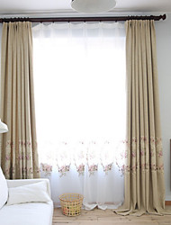 cheap -Grommet Top Double Pleat Pencil Pleat Curtain Country , Embroidery Floral Living Room Linen Material Blackout Curtains Drapes Home