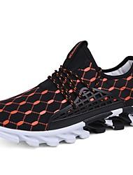 preiswerte -Herrn Schuhe Künstliche Mikrofaser Polyurethan Frühling Herbst Leuchtende Sohlen Sneakers für Normal Weiß Schwarz Orange