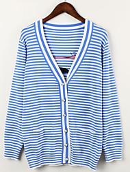 Damer Afslappet/Hverdag Normal Cardigan Stribet,V-hals Langærmet Akryl Polyester Efterår Medium Mikroelastisk