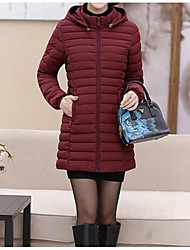 cheap -Women's Padded Coat,Casual Daily Solid-Cotton Long Sleeves