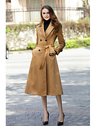 cheap -Women's Work Vintage Wool Coat - Solid, Formal Style Vintage Style Shirt Collar