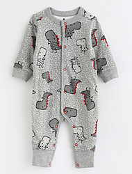Baby Patterned One-Pieces,Cotton Fall/Autumn Long Sleeves Gray