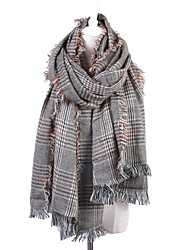 cheap -Women's Cotton Linen Rectangle Plaid Fall Winter