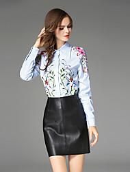 Camicia Da donna Per uscire Casual Vintage Inverno Autunno,Fantasia floreale Colletto 100% poliestere Manica lunga Medio spessore