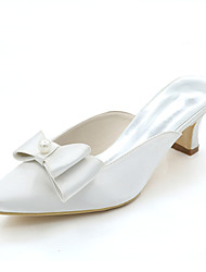 preiswerte -Damen Schuhe Satin Frühling Sommer Pumps Hochzeit Schuhe Quadratischer Zeh Schleife Imitationsperle Für Hochzeit Party & Festivität