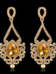 baratos -Mulheres Brincos Compridos Zircônia Cubica Gema Vintage Elegant Titânio Cristal Austríaco Caído Jóias Para Casamento Festa de Noite