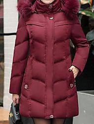 Manteau Rembourré Femme simple Usage quotidien Couleur Pleine-Polyester Manches Longues