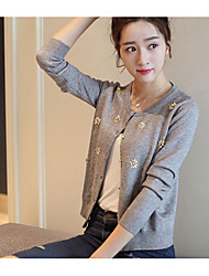 Women's Daily Wear Regular Cardigan,Solid Print V Neck Long Sleeves Acrylic Autumn Winter Thick Stretchy