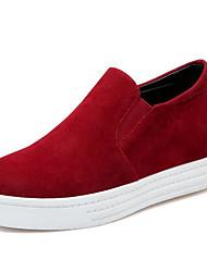 preiswerte -Damen Schuhe PU Frühling Herbst Komfort Loafers & Slip-Ons für Normal Schwarz Grau Rot