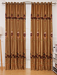 cheap -Rod Pocket Grommet Top Tab Top Double Pleat Curtain Formal Casual Country , Embroidery Vintage Bedroom Polyester Blend Material Curtains