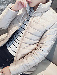 cheap -Men's Regular Padded Coat,Casual Daily To-Go Solid-Polyester Long Sleeves