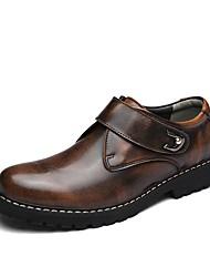 Недорогие -Муж. обувь Дерматин Кожа Весна Осень Удобная обувь Туфли на шнуровке Для прогулок для Повседневные Черный Серый Темно-коричневый