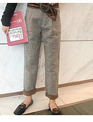 Feminino Vintage Cintura Alta Micro-Elástica Chinos Calças,Chinos Quadriculada