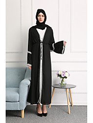 cheap -Women's Party Daily Wear Casual Loose Lace Abaya Dress,Solid Color Block Stitching Lace Round Neck Maxi Long Sleeve Polyester All Season