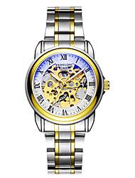 baratos -Homens relógio mecânico Japanês Cronógrafo / Impermeável / Noctilucente Aço Inoxidável Banda Luxo / Casual / Elegant Prata / Dourada