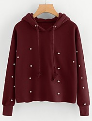 cheap -Women's Going out To-Go Cute Active Hoodie Solid Hooded Micro-elastic Cashmere Cotton Spandex Long Sleeves Spring/Fall Fall