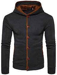 Men's Sports & Outdoor Daily Casual Hoodie Color Block Hooded Micro-elastic Cotton Long Sleeves Winter Autumn/Fall