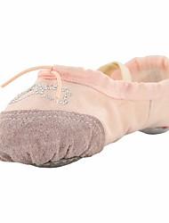Kinder Ballett Leinwand Flach, Ballerina Innen Acryldiamant Flacher Absatz Weiß Schwarz Beige Rot Rosa