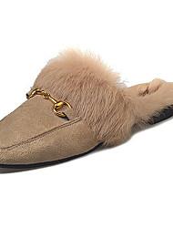 cheap -Women's Shoes PU Winter Comfort Clogs & Mules For Outdoor Khaki Black