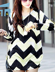 cheap -Women's Casual Shirt,Striped Round Neck Long Sleeves Cotton
