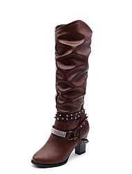 Women's Shoes Leatherette Rubber Winter Fall Fluff Lining Gladiator Combat Boots Boots Pointed Toe Knee High Boots Mid-Calf Boots