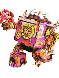 baratos -Robô Caixa de música Quebra-Cabeça Quebra-Cabeças de Madeira Fonógrafo Máquina Robô Desenho Faça Você Mesmo De madeira Composto Crianças