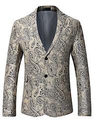 cheap -Men's Daily Vintage Winter Fall BlazerPrint Shirt Collar Long Sleeves Regular Cotton