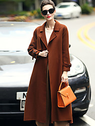 Women's Wear to work Daily Wear Simple Casual Winter Coat,Solid Tailored Collar Long Sleeves Long Wool Stylish Button