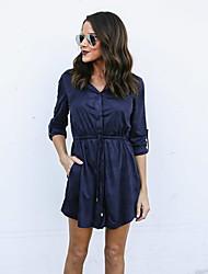cheap -Women's Daily Work Casual Shirt Dress,Solid Shirt Collar Above Knee Long Sleeve Elastane Spring High Waist Inelastic Opaque